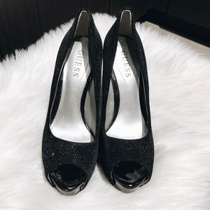Guess Shoes - Guess peep toe sparkly heels